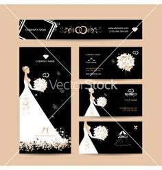 Business cards design weddign concept vector - by Kudryashka on VectorStock®