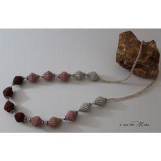 Collana lunga con perle di carta, long necklace, pearl paper, perle di... (€13) via Polyvore featuring jewelry e necklaces