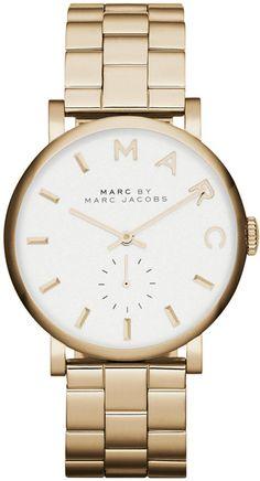 Marc by Marc Jacobs Watch, Women's Baker Gold-Tone Stainless Steel Bracelet 37mm MBM3243 - $225.00
