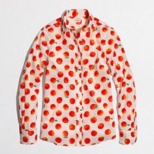 J.Crew Factory Classic Button-down Shirt in Printed Cotton (Tangerine)