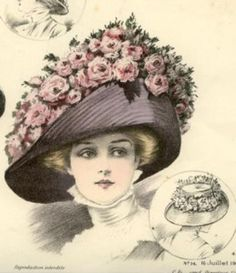 July 1909 Summer flower hats