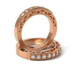 Inel de logodna din aur roz cu diamante Alvin