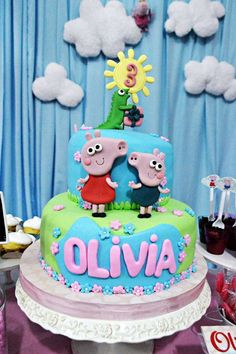 Peppa Pig birthday party cake! See more party ideas at CatchMyParty.com!