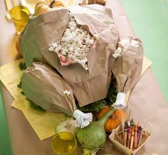 How to Make a Paper Bag Popcorn Holder Turkey - great for kids on Thanksgiving!