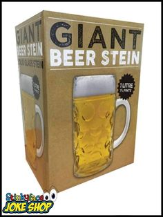 1 Litre Giant Beer Stein - The perfect drinking companion is a giant thick glass beer stein, Holds up to 1 litre of cool beer. Funny Gifts For Him, Joke Gifts, Beer Stein, Best Beer, Novelty Gifts, Drinking, Mugs, Tableware, Beverage