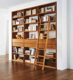 Merdivenli ahşap Kitaplık