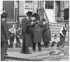 Orthodox Jews burn hametz in preparation for Passover in the Williamsburg section of New York. Hametz, or leavened foods, are not permitted to be eaten during Passovef