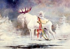 """""""White Moose"""" - by Sussi Anna Aberg, (Finnish) Christmas Scenes, Christmas Animals, Christmas Pictures, Christmas Art, Winter Christmas, Christmas Illustration, Illustration Art, White Moose, White Reindeer"""