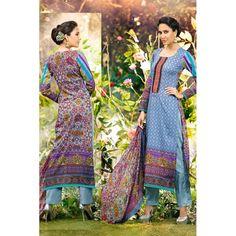 Eid Special Designer Pure Cotton Blue Color Unstitched Salwar Kameez-813( OFB-313 )Karishma