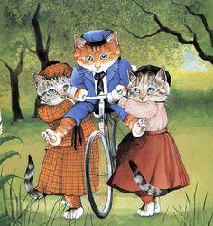 Victorian Cats Susan Herbert  Antique / by HeatherwoodArtPrints, $9.50 - On a bike