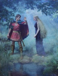 I Love thee not, therefore Pursue me Not - Original illustration for 'A Midsummer Night's Dream' showing Demetrius and Helena in the woods outside Athens with Oberon watching on, invisible in the moonlight