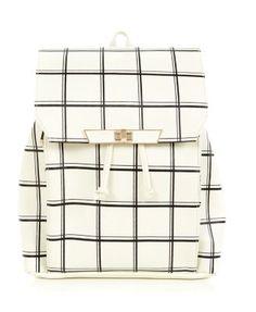 White Grid Print Backpack