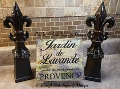 "7"" x 8"" x 1"" Lavender Garden sign! Fleur De Lis statues and easel not included"