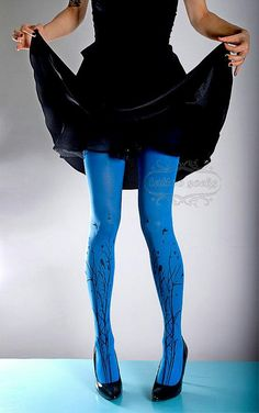 Colored Tights Outfit, Funky Tights, Blue Tights, Patterned Tights, Opaque Tights, Nylons, Fashion Tights, Fashion Outfits, Tattoo Tights