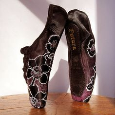 Black Orchid Pointe Shoes, Fuchsia and Black, White Mehndi Designs, Hand Dyed, Repurposed