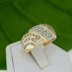 Yellow Gold Genuine 1ct TDW Diamond Cluster Band – MoneyMan Pawn