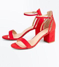 0f58434b7e19 Red Comfort Flex Suedette Block Heel Sandals. New Look ...