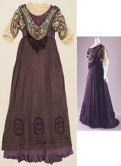 Margaine La Croix silk dress, 1908-1910, French http://www.metmuseum.org/art/collection/search/83566?rpp=60&pg=4&ft=*&when=A.D.+1900-present&what=Dresses&img=1