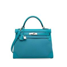 A LIMITED EDITION TURQUOISE SWIFT & TOGO LEATHER GHILLIES KELLY 32 WITH PALLADIUM HARDWARE | HERMÈS, 2015 | 21st Century, bags | Christie's
