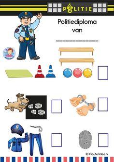 Politiediploma voor kleuters, kleuteridee.nl, free printable. Kids Police, Preschool Learning Activities, Dramatic Play, Eyfs, Creative Kids, Kindergarten, Classroom, Kid, Police Party