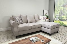 Modern St. Tropez Fabric Corner Sofa With Reversible Chaise in Cream and Grey