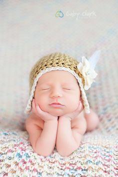 Newborn Flapper Hat With Flower by PetuniaandIvy on Etsy, $24.00