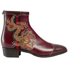 Gucci Women 30mm Plata Dragon Leather Boots (£1,440) ❤ liked on Polyvore featuring shoes, boots, bordeaux, leather sole boots, gucci boots, genuine leather boots, low-heel boots and side zipper boots