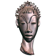 """""""African Head,"""" Very Fine Art Deco Wall Sculpture by Casals 