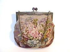 ANTIQUE TAPESTRY AND 800 SILVER PURSE,DECORATED WITH AMETHYST CLASP,BEAUTIFUL