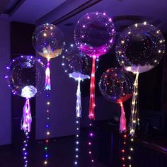 "Details about 18 ""Led Luminous Balloon Transparent Party Balloons Decoration Wedding Party Lights- show title on original Ballons Brilliantes, Light Up Balloons, Balloon Glow, Clear Balloons, Balloon Lights, Bubble Balloons, String Lights, Plastic Balloons, Foil Balloons"