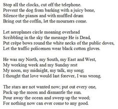 1936 W Auden Poem From Four Weddings And A Funeral