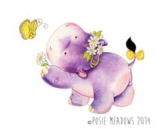 Ginny and the Flutterby - Hippo Giclee Print, Original Artwork, Children's illustration, Nursery Wall Art