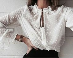 It's all in the details 🙏🏻 Loving this snap of our Boho Sheer Shirt from 💫 Looks Street Style, Looks Style, Look Fashion, Fashion Outfits, Fashion Trends, 90s Fashion, Feminine Fashion, Daily Fashion, Fashion Ideas