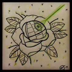 Death Star Rose by Hobojay.deviantar on - Star Wars Death Star - Ideas of Star Wars Death Star - Death Star Rose by Hobojay.deviantar on Star Wars Tattoo, Death Star Tattoo, Music Tattoos, Star Tattoos, Rose Tattoos, Nerd Tattoos, Star Wars Quotes, Star Wars Humor, Beginner Tattoos