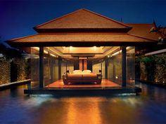 Minimal glass bedroom with pool, Banyan Tree Resort