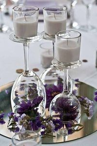2019 brides favorite weeding color stylish shade of purple--wedding centerpieces with flowers, wedding tableware display, diy wedding table settings, floral wedding decorations Wedding Table Centerpieces, Flower Centerpieces, Reception Decorations, Centerpiece Ideas, Submerged Centerpiece, Wine Glass Centerpieces, Reception Ideas, Simple Centerpieces, Purple Table Decorations