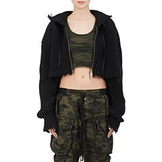 Ben Taverniti Unravel Project Women's Rib-Knit Wool-Cashmere Crop... ($1,355) ❤ liked on Polyvore featuring tops, hoodies, black, zip front hoodie, hoodie crop top, wool hoodie, cashmere hoodie and hooded pullover
