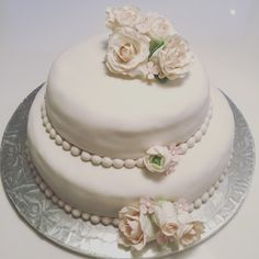 Marzipan cake with marzipan and fondant roses.