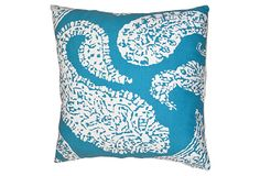 Paisley 20x20 Cotton Pillow, Aqua on OneKingsLane.com