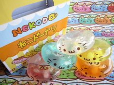 Kawaii Cute Cats NEKODO Neko Doughnut Glittery Mascot Toy Set in Original Cardboard Box by Kawaii Japan, via Flickr