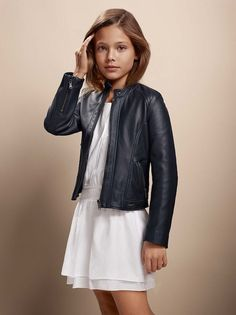 Stylish white dress with embroideries and fancy leather jacket - BOSS Hugo Boss - - fahsion for girls - mode fille Little Girl Outfits, Little Girl Fashion, Outfits Niños, Kids Outfits, Winter Outfits, Fashion Outfits, Look Girl, Tween Fashion, Kids Fashion Summer
