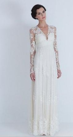 Vintage Lace Wedding Dress Bridal Gown Deep Front Back V Neck Open Back Long Lace Sleeves A Line Dress