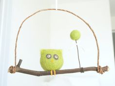 Owl Nursery Mobile, Green Mobile Baby Mobile Bird Mobile Balloon, Rustic Modern Turquoise Blue, Cute, Lime, Circus, Unique, Needle Felt on Etsy, $50.00