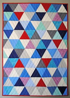 equilateral triangle, with easy (?) straight line quilting