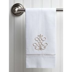 gorgeous linen guest towels with #beigedesign embroidery. #frenchscroll gorgeous to brighten up those bathroom linens for the spring