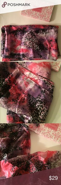 Beautiful 100% silk sarong 100% silk.  Can be used as a large scarf also. Bright pinks, leopard, white, black, and purple colors.  Comes with box.  Never used. Tangaroa Fashions Other