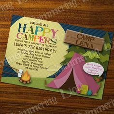 Camping Birthday Girl Invite Invitation Party Custom Printable Boy Kids Camp Out Tent Campfire Moon Pink