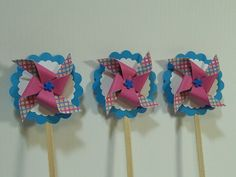 Mini Pinwheel Cupcake Toppers1.00 each. Pink by HomespunSpirit