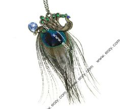 38.5cm Sweater Chain Necklace Jewelry Peacock Shape Coppery