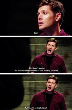 "[gifset] ""We don't get to quit in this family- this family is all we've ever had."" Spoilers 10x03 Soul Survivor #SPN #Dean #DemonDean"